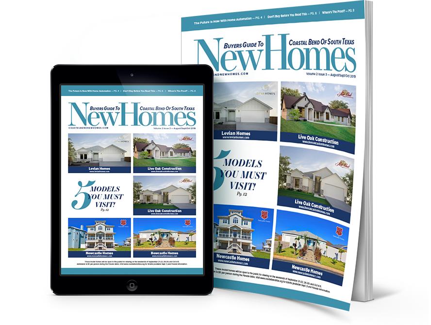 Coastal Bend New Homes, Corpus Christi, CC, Coastal Bend, New homes guide, coastal bend new homes guide, real estate, realtor, Levian Homes, Live Oak Custom Homes, Live Oak Construction, Newcastle Homes
